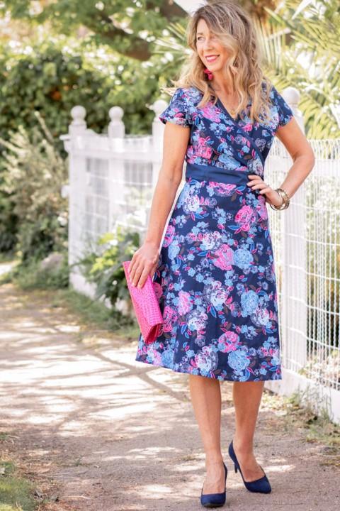 Leela Cotton Wrap Dress - Flores Print