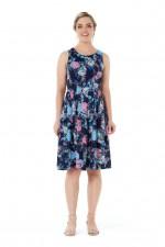 Jude Cotton 50's  A Line Dress - Flores Print