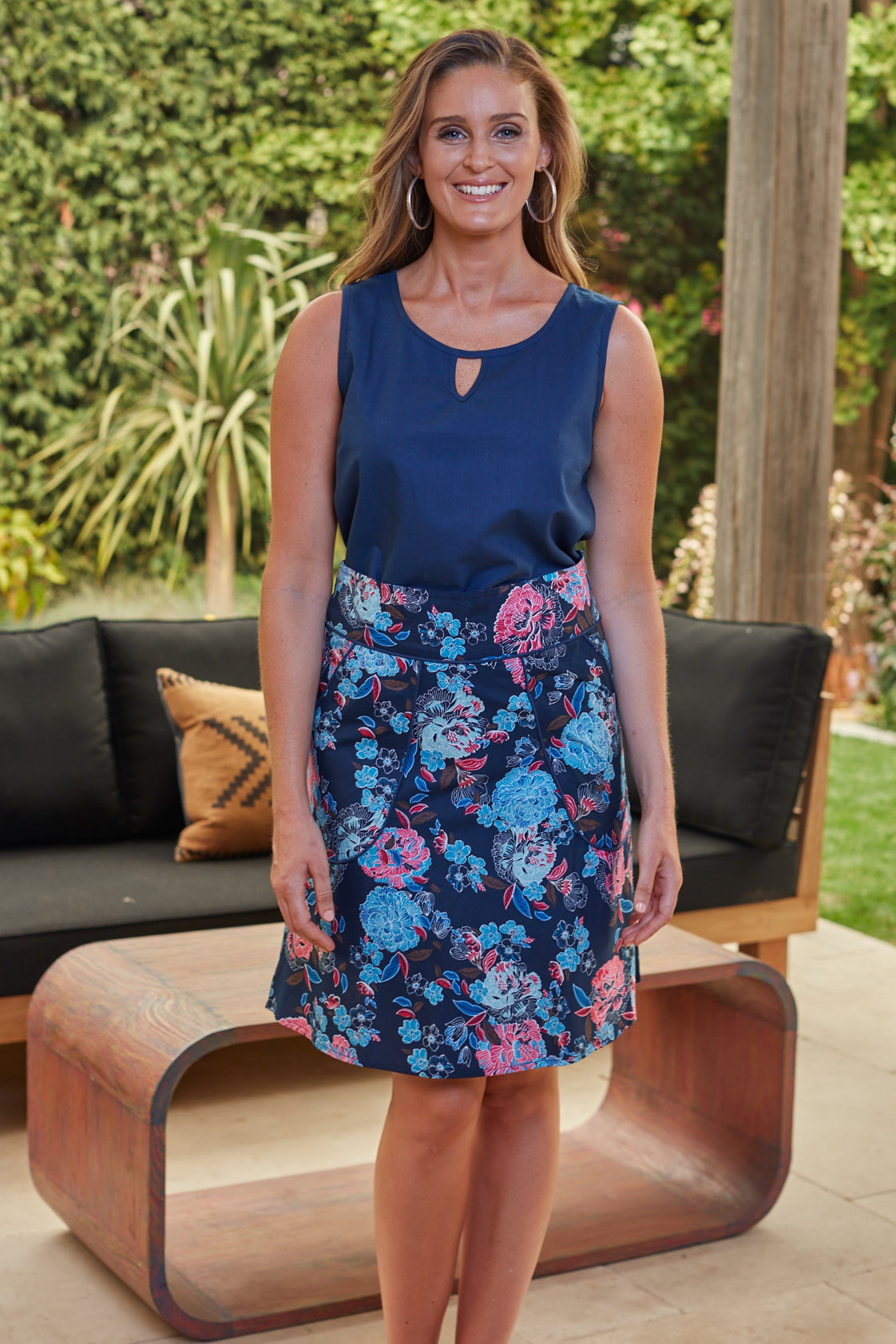 Melissa A-Line Cotton Skirt - Flores Print