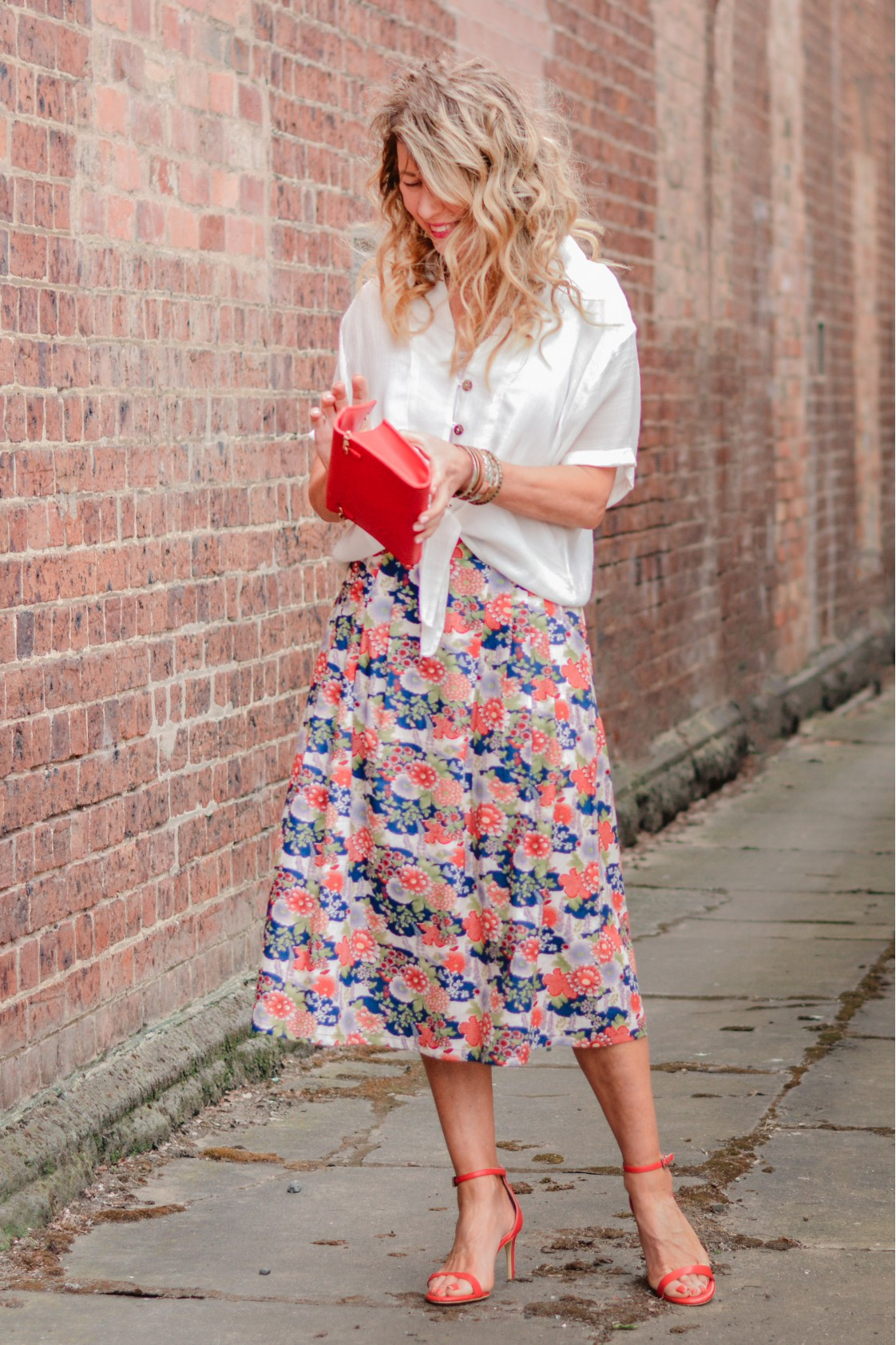 Jessica Cotton Skirt with Pockets - Japanese Meadow Print