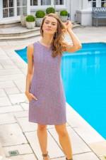 Kayla Cotton Shift Dress -Cloud Print