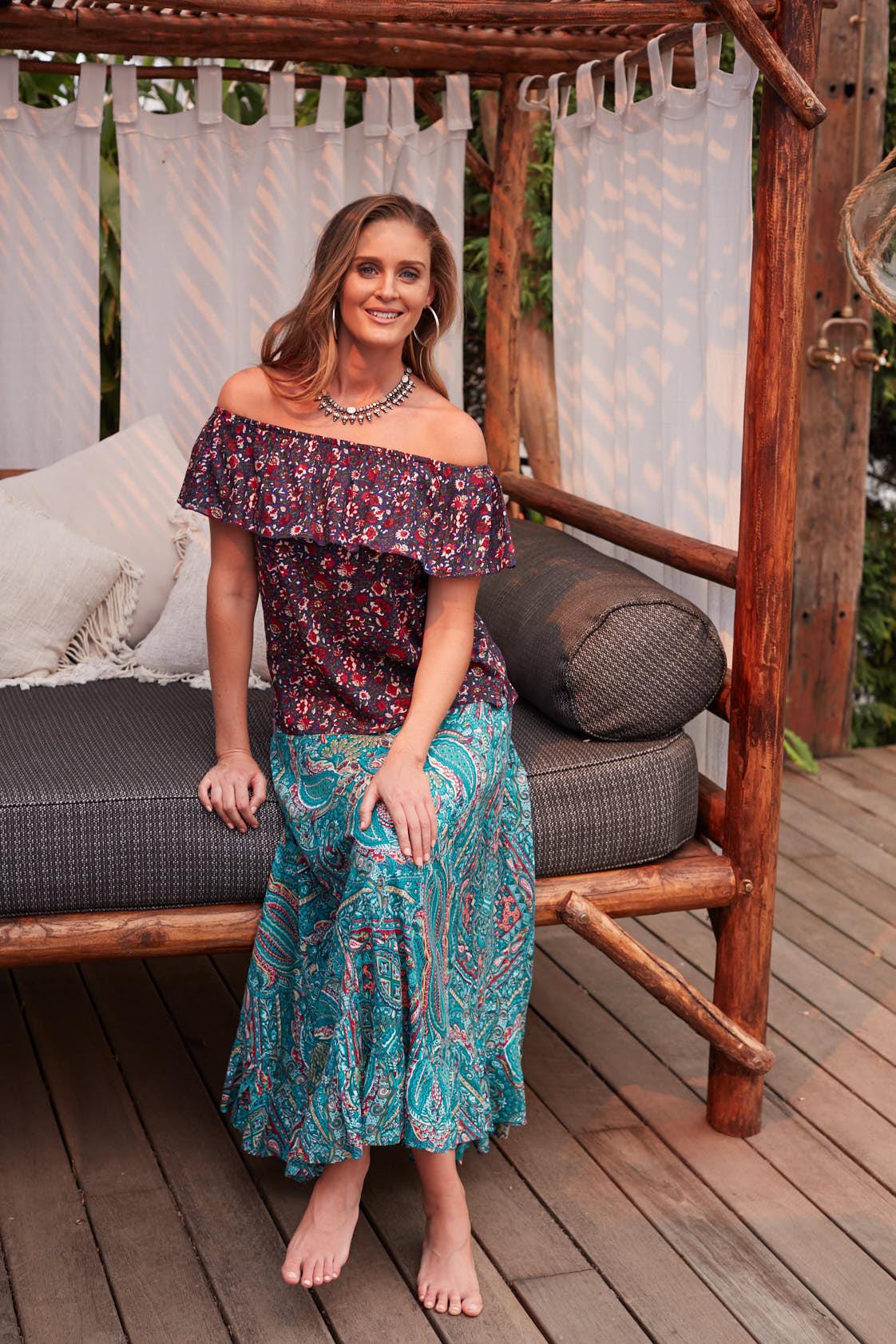 Gigi Frill Skirt -Turquoise Paisley Print