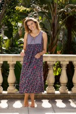 New Goa Dress - Navy Flower and Cloud Prints