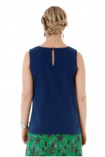 Marti Cotton Top - Navy Blue