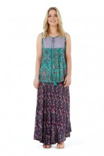 Goa Top - Turquoise Paisley and Cloud Prints