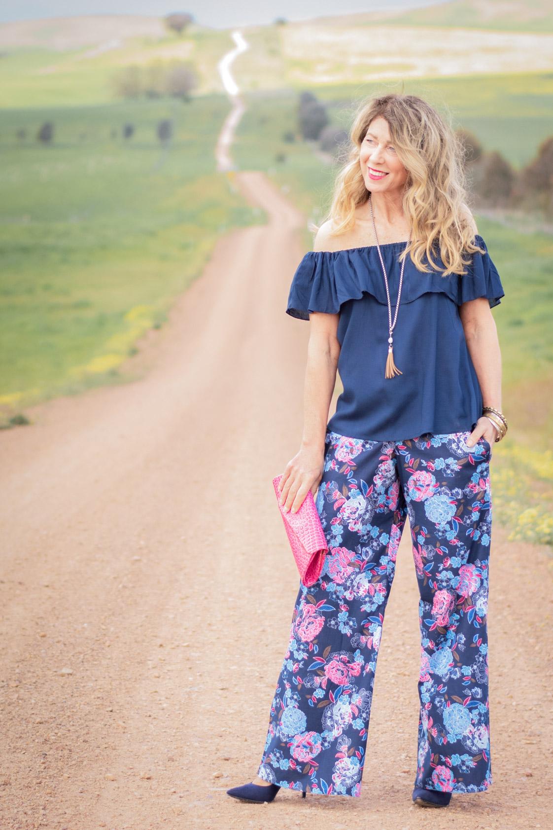 Sarita Cotton Pants - Flores Print
