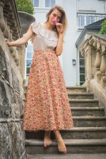 Grace Long Cotton Wrap Skirt - Anokhi Print