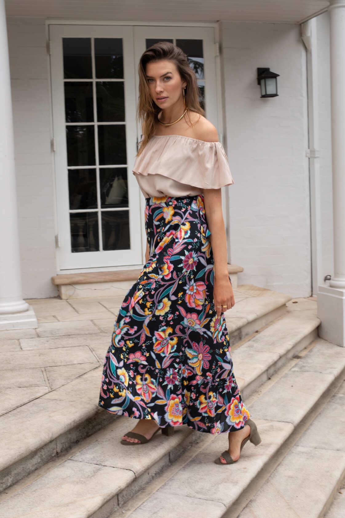 Ole Maxi Wrap Frill Skirt - Castro Print
