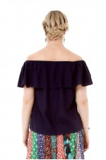 Primo Rayon Top - Navy Blue