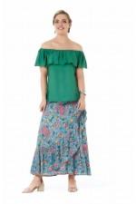 Ole Maxi Wrap Frill Skirt - Liberty Print