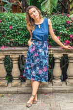 Jessica Cotton Skirt with Pockets - Flores Print