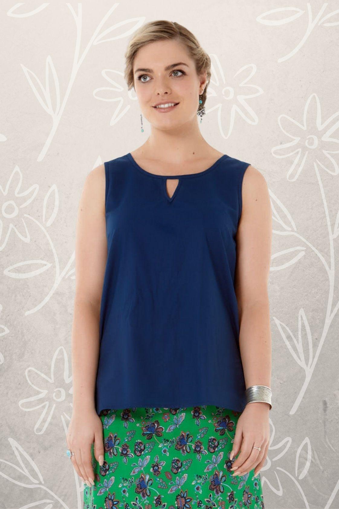 Marti Cotton Top - Navy Blue