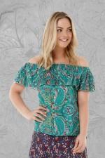 PrimaTop - Turquoise Paisley Print