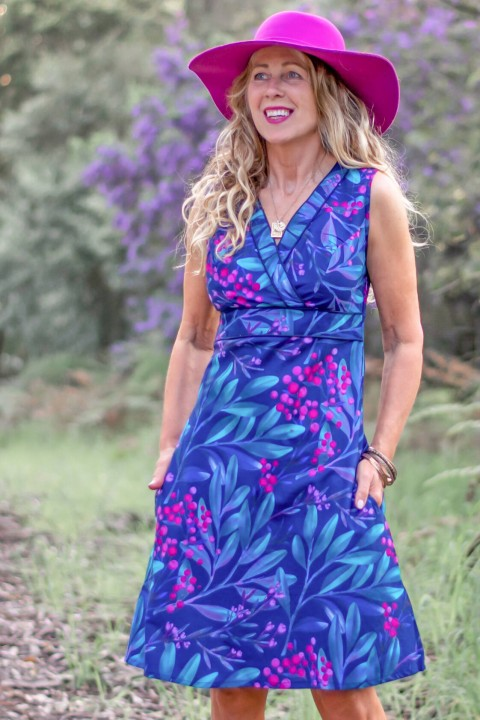 New Jaya Cotton Dress - Berry Print