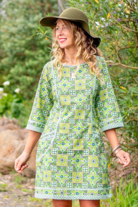 New Connie L/S Dress - Lime Paisley Print