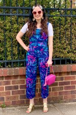 Casey Cotton Jumpsuit - Berry Print