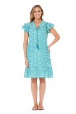 Orla Rayon Dress - Sky Print