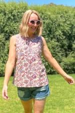 Martine Cotton Top - Summer Print