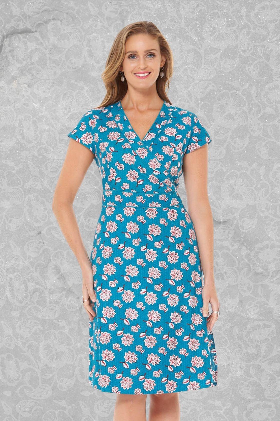 Astrid Cotton Wrap Dress - Yoko Print