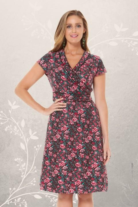 Astrid Cotton Wrap Dress - Naples Print