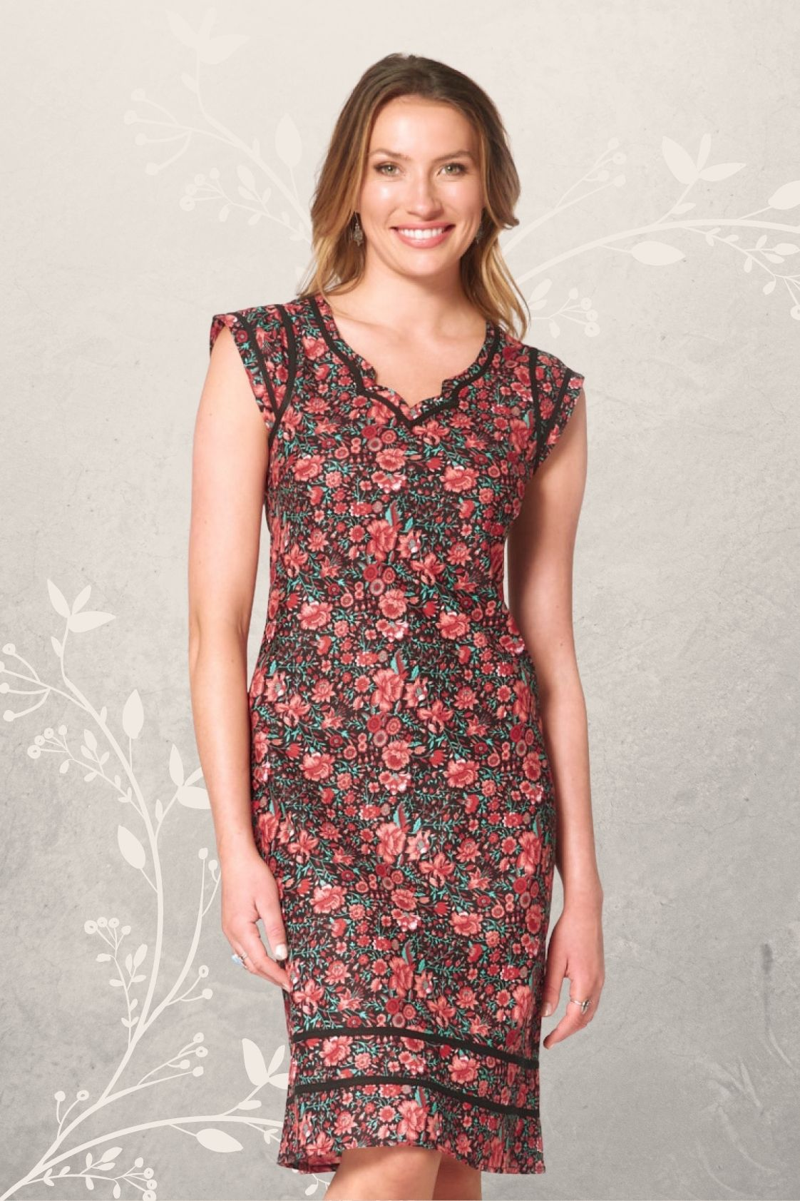 Cassy Cotton Braid Dress - Naples Print