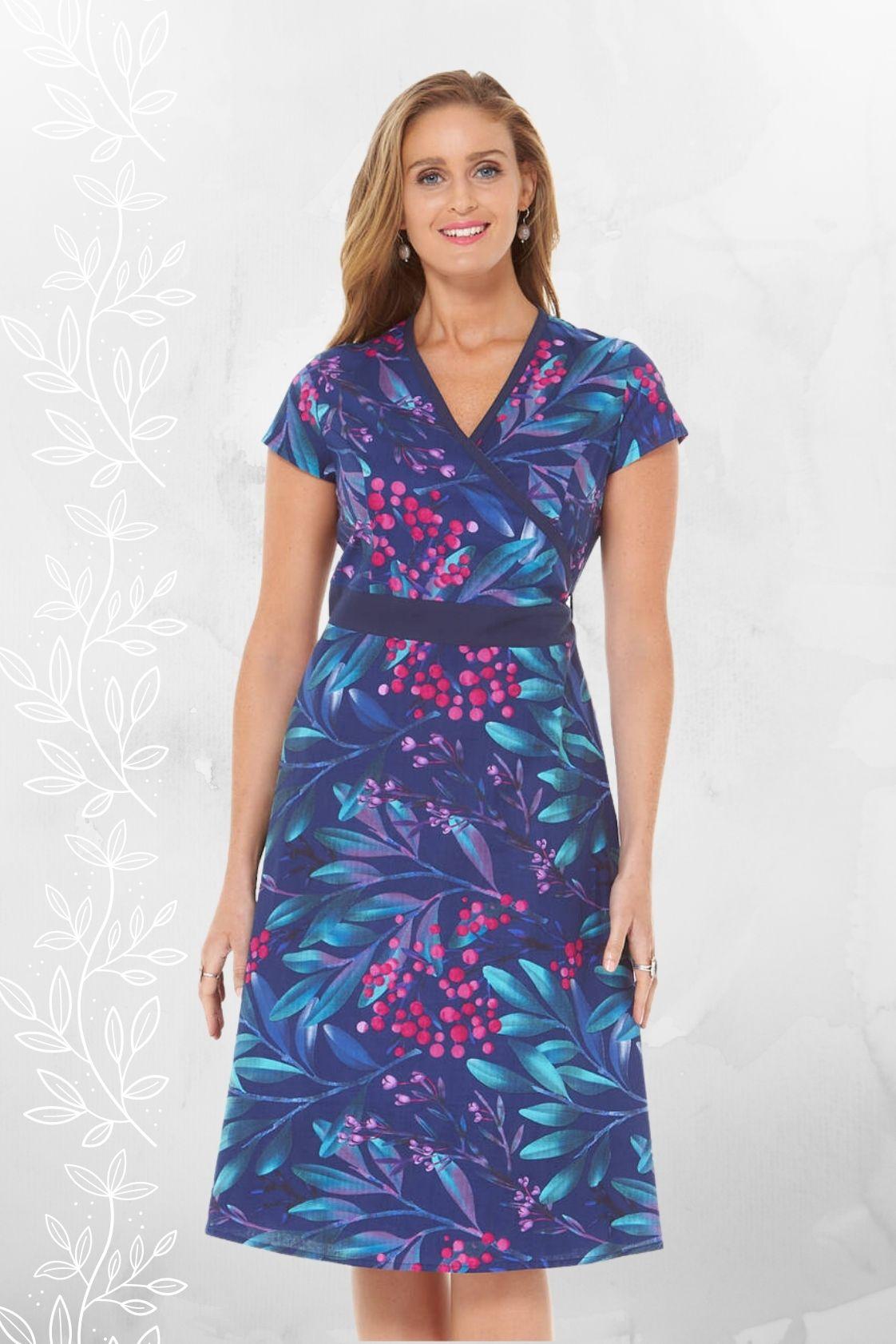 Leela Cotton Wrap Dress - Berry Print
