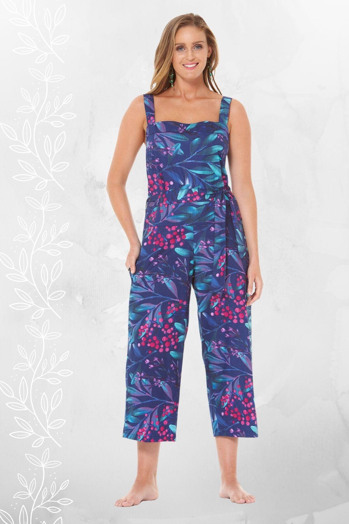 Casey Cotton Jumpsuit - Berry Print