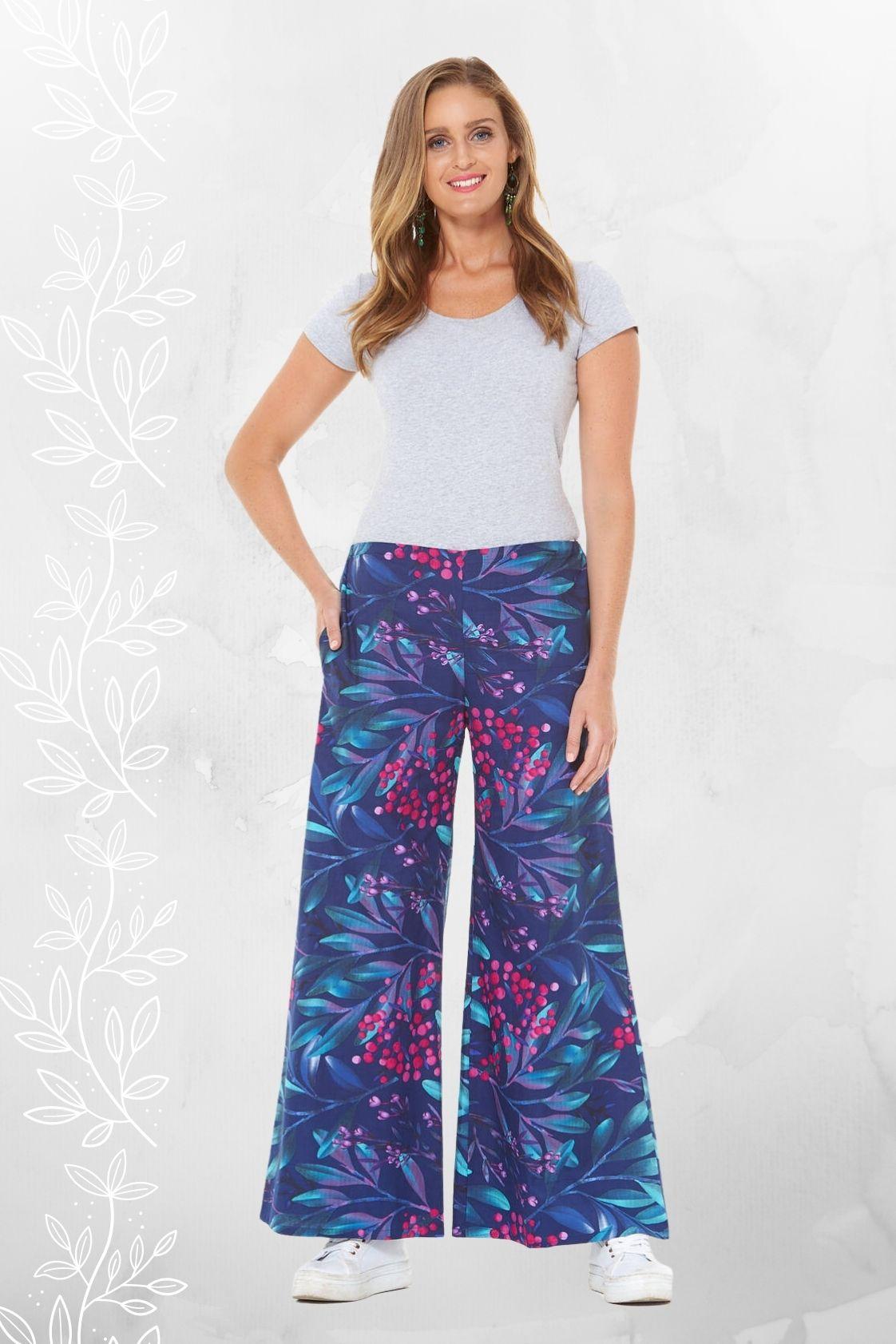 Sarita Cotton Pants - Berry Print
