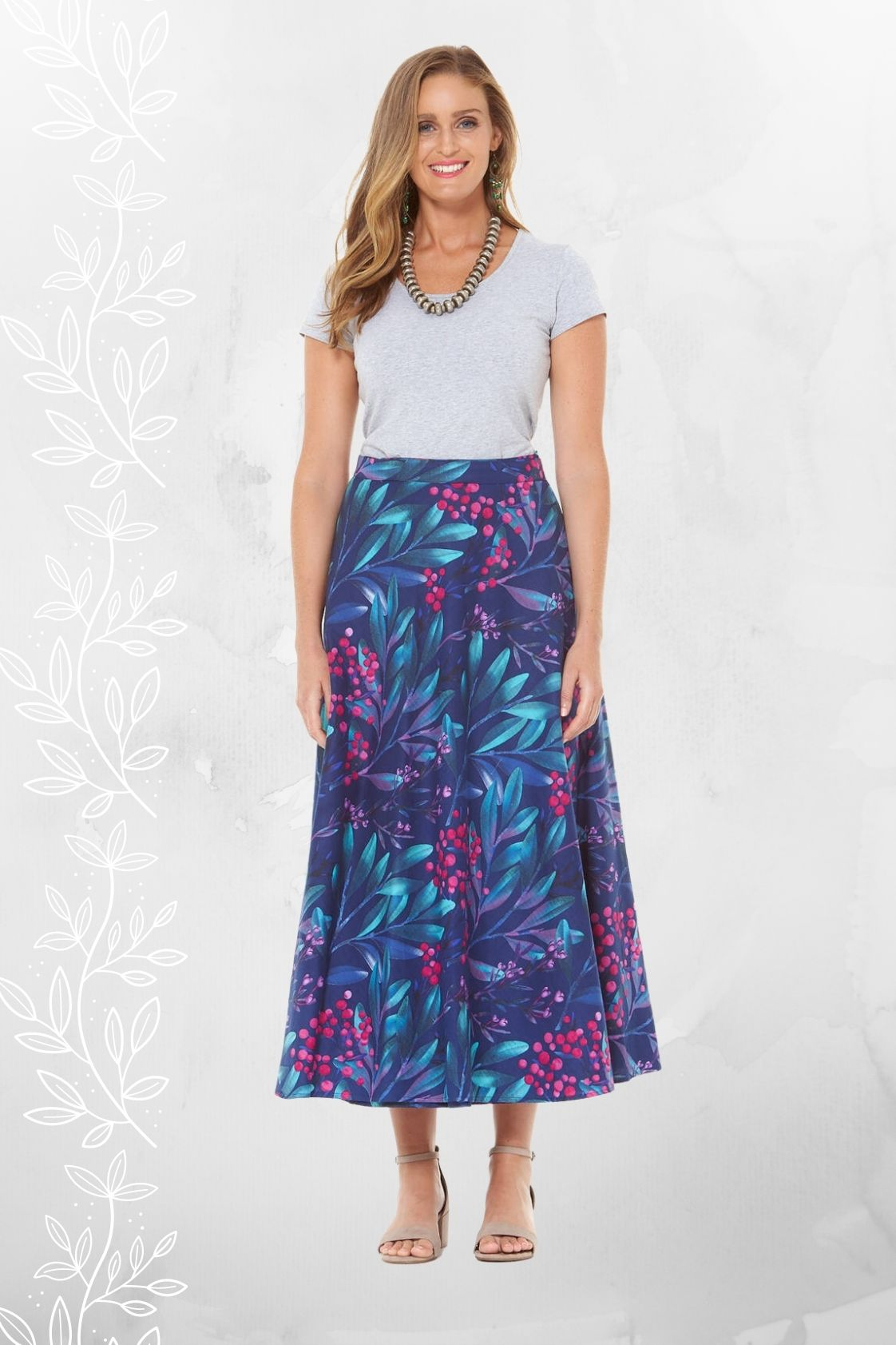 Grace Long Cotton Wrap Skirt - Berry Print