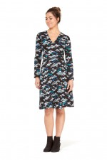 Sunburst  L/S Wrap Dress- Kobe Print