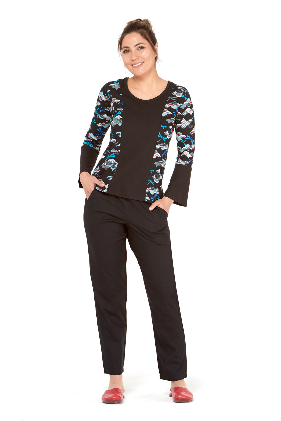 Matilde Cotton Top - Kobe Print with Plain Black