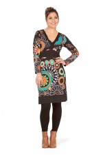 Origami Cotton Stretch Dress - Zen Print