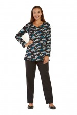 Ingrid  Faux Wrap Top - Kobe Print