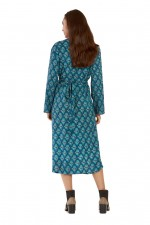 Micki 3/4 Sleeve Wrap Dress - Grapes Print