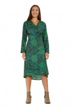 Micki 3/4 Sleeve Wrap Dress - Jewel Print