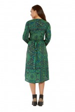 Micki  3/4 sleeve  Wrap Dress- Jewel Print