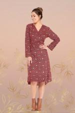 Micki long Sleeve Wrap Dress - Mandala Print