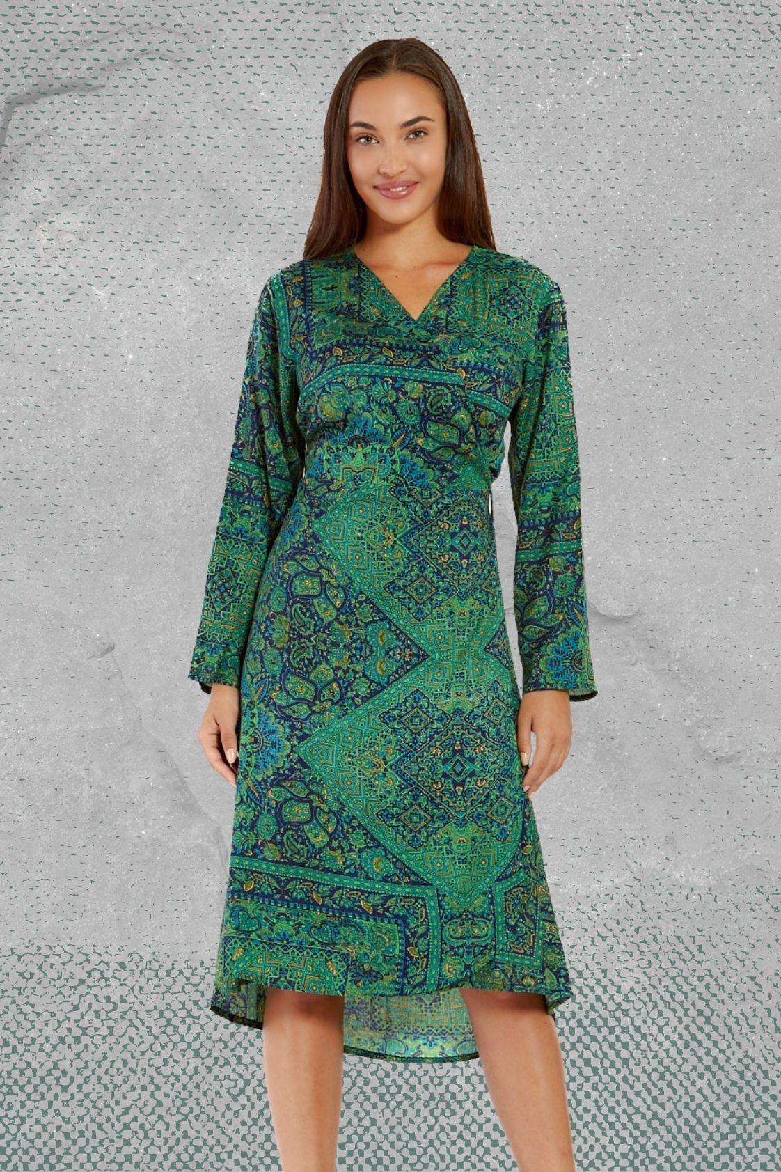 Micki long Sleeve Wrap Dress - Jewel Print