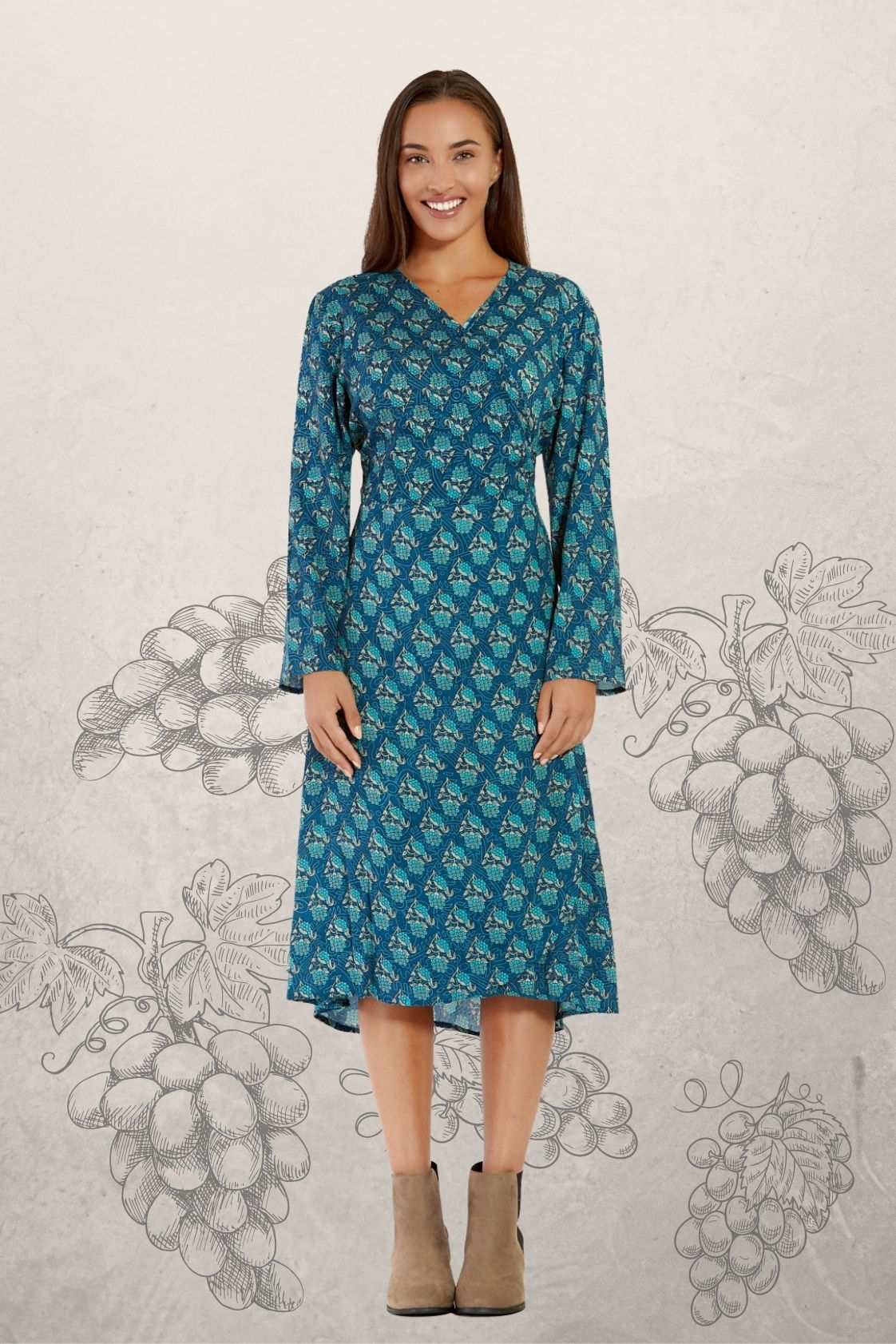 Micki long Sleeve Wrap Dress - Grapes Print