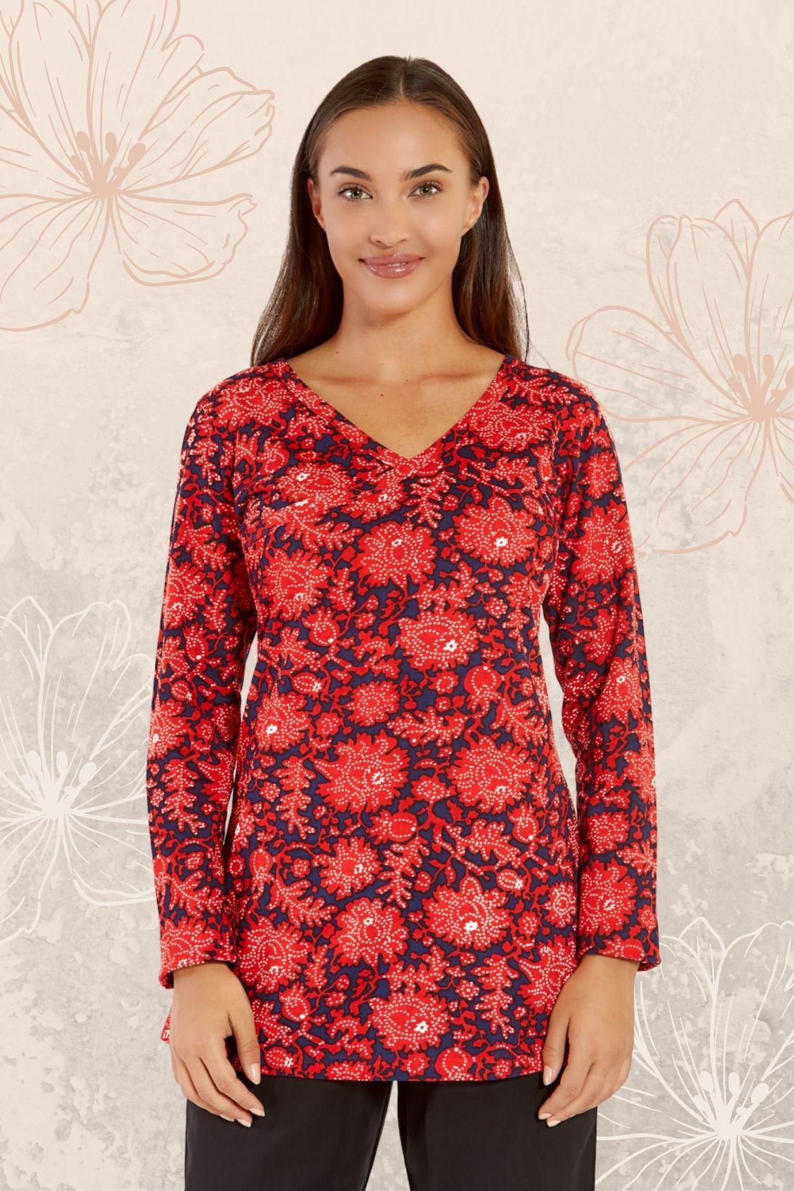 Ingrid Faux Wrap Top - Batik Print