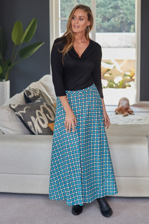 Grace Long Cotton Wrap Skirt - Blue Daisy Print