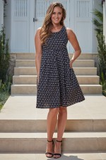 Jude Cotton 50's  A Line Dress - Ditsy Black Print