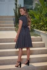 Astrid Cotton Wrap Dress - Ditsy Black Print