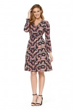 Sunburst  L/S Wrap Dress - Fuji Print