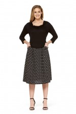 Jessica Cotton Skirt with Pockets - Ditsy Black Print