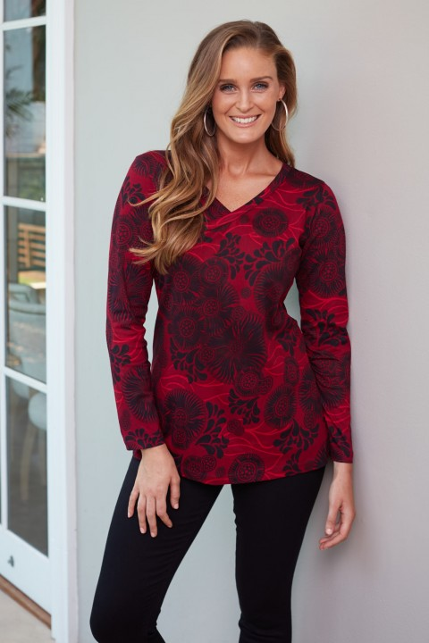 Ingrid Faux Wrap Top - Moorish Print