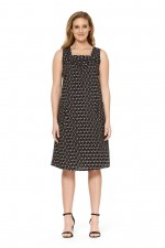 Kendra Cotton Strap Dress - Ditsy Black Print