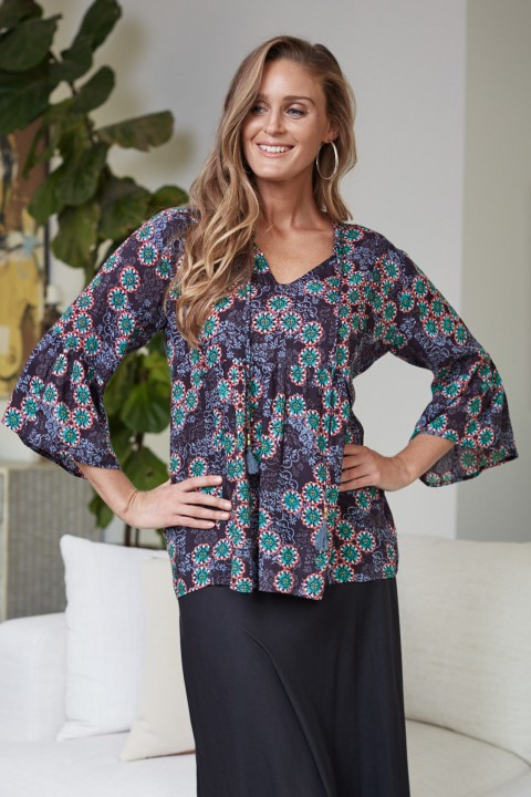 New Petra L/S Rayon Top – Twilight Print