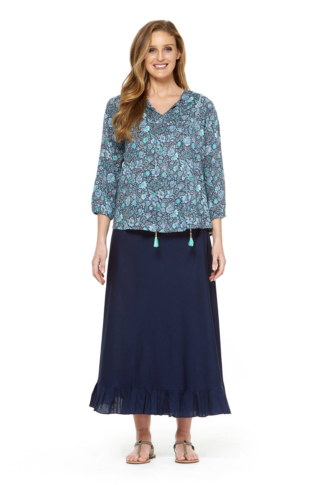 Madrid Wrap Linen Skirt - Navy Blue
