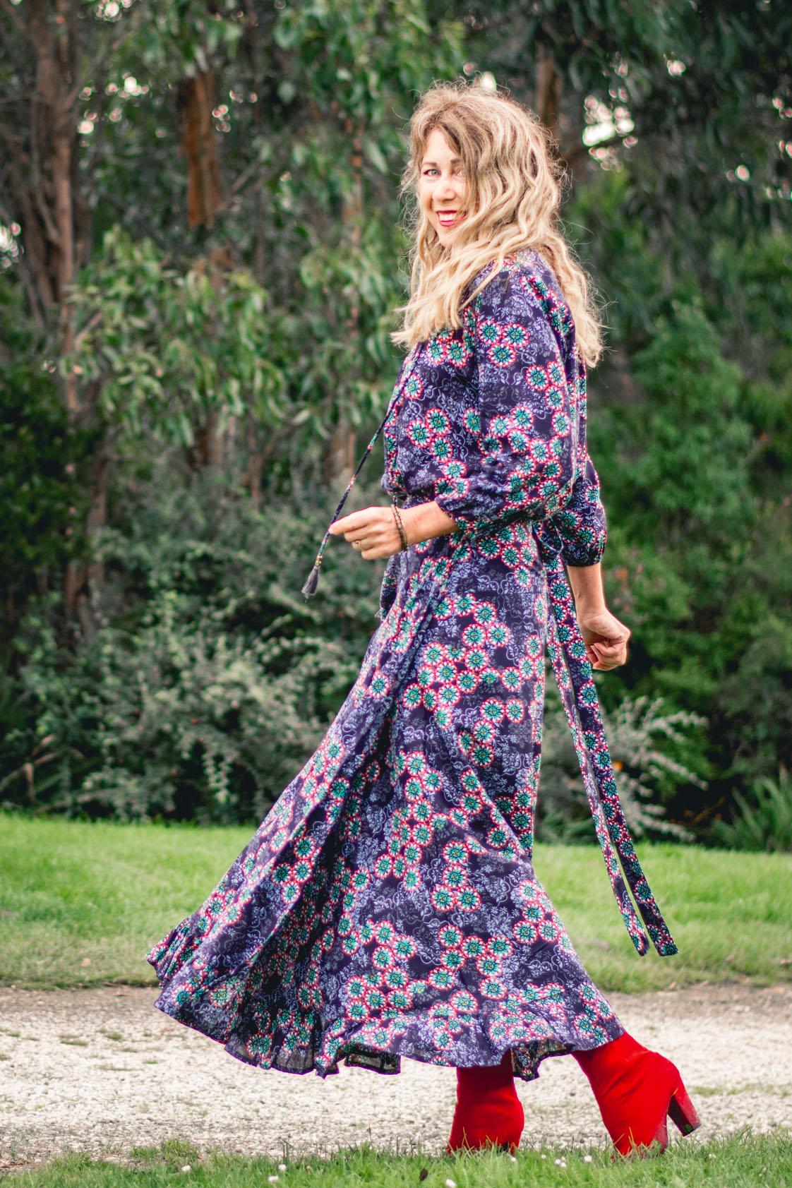 Madrid Wrap Rayon Skirt - Twilight Print